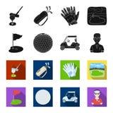 Gebied met een gat en een vlag, een golfbal, een golfspeler, een elektrische golfkar Pictogrammen van de golfclub de vastgestelde vector illustratie