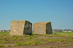 Gebied met overblijfselen van oude bunkers in Oostende royalty-vrije stock afbeeldingen