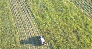Gebied met sporen van gesneden gras tegen landschap stock videobeelden