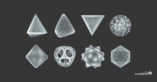 Gebied, octaëder en piramide Voorwerpen met lijnen en punten Moleculair net Vector illustratie 3D Technologiestijl royalty-vrije illustratie