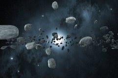 Gebied van asteroïden in diepe ruimte stock illustratie