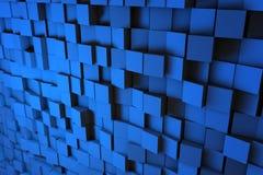 Gebied van blauwe 3d kubussen 3d geef image Royalty-vrije Stock Foto's