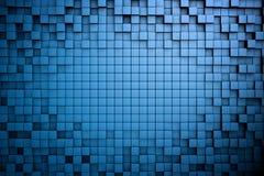 Gebied van blauwe 3d kubussen 3d geef image Stock Afbeeldingen