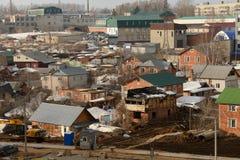 Gebied van de stad met priv? huizen Brandwond uit home3 Cheboksary Rusland stock afbeelding