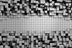 Gebied van grijze 3d kubussen 3d geef achtergrond terug Royalty-vrije Stock Afbeeldingen