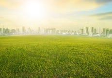 Gebied van het land scape wijd het groene gras en de moderne bouw van stedelijk s royalty-vrije stock fotografie