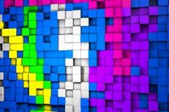 Gebied van kleurrijke 3d kubussen 3d geef image Royalty-vrije Stock Afbeelding