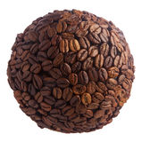 Gebied van koffiebonen Planeet van koffie op witte achtergrond wordt geïsoleerd die Stock Foto's