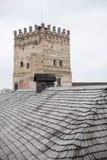 Gebied van oud Lubart-kasteel in Lutsk de Oekraïne stock afbeelding