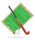Gebied van spel in hockey op gras vectorillustratie Stock Afbeelding