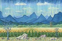 Gebied van zonnebloemen en bergen Stock Afbeeldingen