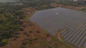 Gebied van zonnepanelen stock footage