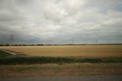 Gebieden en landbouwbedrijven met landweg in Zuidplaspolder in Moordrecht in Nederland stock afbeelding