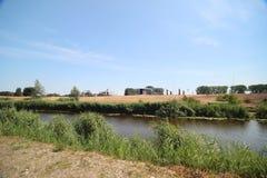 Gebieden en landbouwbedrijven in Zuidplaspolder in Moordrecht in Nederland stock afbeelding