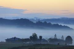 Gebieden en weiden onder vroege ochtendmist in Podkarpacie-gebied, Polen Stock Fotografie