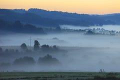 Gebieden en weiden onder vroege ochtendmist in Podkarpacie-gebied, Polen Royalty-vrije Stock Foto