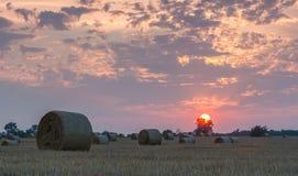 Gebieden en weiden tijdens zonsondergang Royalty-vrije Stock Fotografie