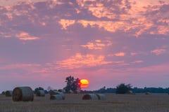 Gebieden en weiden tijdens zonsondergang Stock Afbeeldingen
