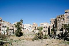 Gebieden in oude Sanaa stad, Yemen. stock afbeeldingen