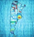 Gebieden van Argentinië op kaart Royalty-vrije Stock Afbeeldingen
