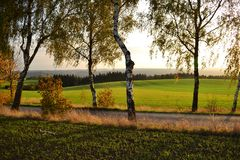 Gebieden, weiden en boslandschap, Tsjechische republiek royalty-vrije stock foto