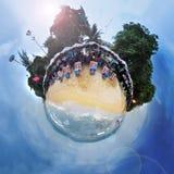 Gebiedpanorama van strand in Pattaya Thailand royalty-vrije stock foto