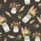 Gebiedsbloemen in metselaarkruiken Naadloos vectorpatroon Stock Afbeeldingen