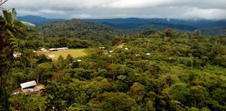 Gebiedsmening van inheemse hutten in een gemeenschap diep in amazone, Ecuador stock afbeeldingen