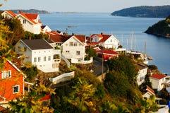 Gebiedsmening van Kragero en de fjord, Noorwegen Royalty-vrije Stock Foto's