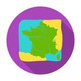 Gebiet von Frankreich-Ikone in der flachen Art lokalisiert auf weißem Hintergrund Frankreich-Landsymbolvorrat-Vektorillustration Lizenzfreie Stockfotos