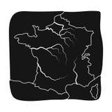 Gebiet von Frankreich-Ikone in der schwarzen Art lokalisiert auf weißem Hintergrund Frankreich-Landsymbolvorrat-Vektorillustratio Lizenzfreie Stockbilder