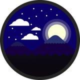 Gebirgs- und Mondnacht mit Wolke und Schnee, flacher Vektor und Illustration kreisen Landschaft ein Vektor Abbildung