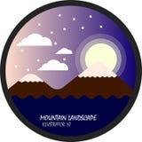 Gebirgs- und Mondnacht mit Wolke und Schnee, flacher Vektor und Illustration kreisen Landschaft ein Lizenzfreie Abbildung
