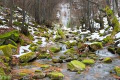 Gebirgsbach, Schnee und Moos bedeckten Felsen und ikonenhaften Wasserfall Tupavica lizenzfreie stockfotos