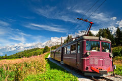 Gebirgsförderwagen in den Alpen. Frankreich. Stockbild
