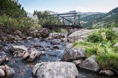 Gebirgsfluß und hölzerne Brücke Lizenzfreies Stockfoto
