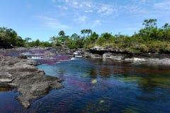 Gebirgsfluss Canio Cristales. Kolumbien stockfotografie