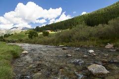 Gebirgsfluss im grünen Tal Stockfotos