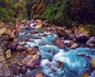 Gebirgsfluss im Steinflussbett Digital-Illustration des grünen Waldes mit Strom des kalten Wassers Lizenzfreies Stockbild
