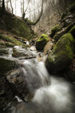 Gebirgsfluss mit Felsen und Wasserfall Stockfoto