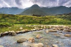 Gebirgsfluss mit Reisterrasse Stockbild