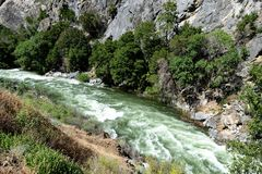 Gebirgsfluss in Nationalpark König-Canyon, CA, USA Stockfotografie