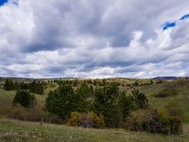 Gebirgsfrühjahrlandschaft, wunderbare Landschaft mit grasartiger Wiese und bewaldete Hügel lizenzfreies stockbild
