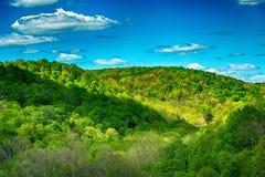 Gebirgsgrün-blauer Himmel stockbild