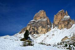 Gebirgsgruppe Sassolungo Langkofel Süd-Tirol, Italien lizenzfreie stockfotos