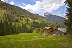 Gebirgshütten Stockfoto