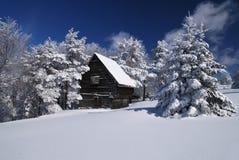 Gebirgshaus im Schnee Stockbild