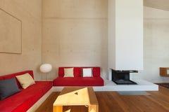 Gebirgshaus, Wohnzimmer Stockfoto