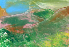 Gebirgslandschaft, abstrakter Anstrich Stockfotografie