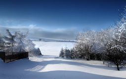 Gebirgslandschaft im Winter Stockbild